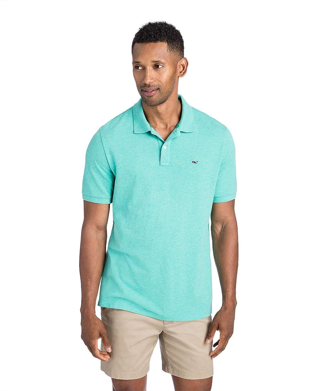 adf7691c Amazon.com: Vineyard Vines Men's Stretch Pique Heather Polo (Caribbean  Green, Large): Clothing