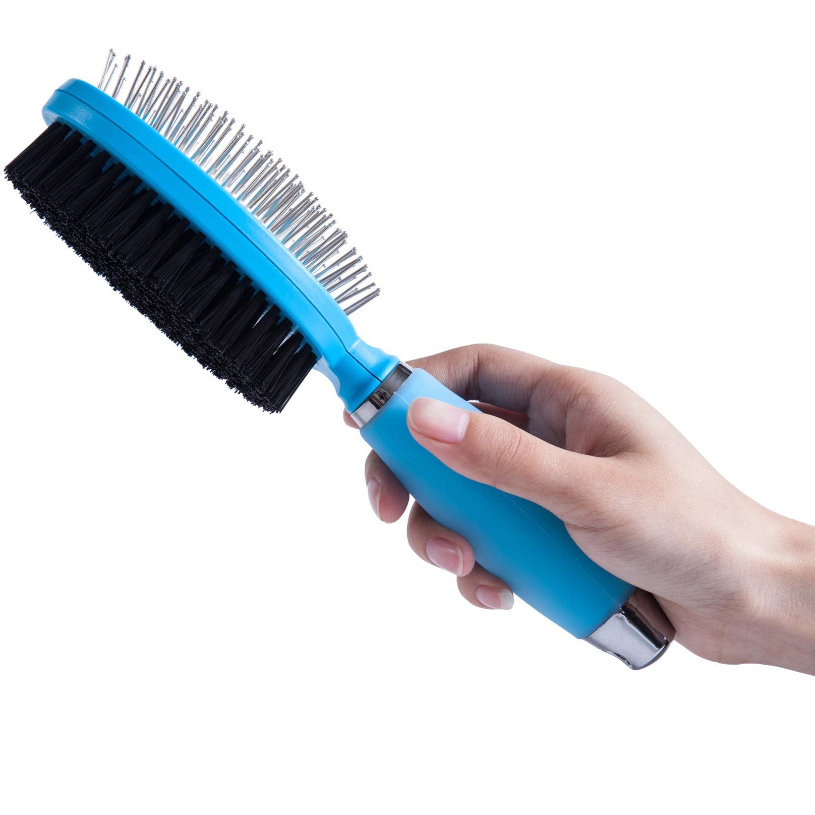 LukPaw Dog Grooming Brush Pet Hair Comb Professional Double Sided Bristle & Pin Brush Dog Grooming Comb with Silicone Handle for Dogs Cats Pets (Brush)