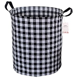 Black and White Buffalo Check Plaid Canvas Laundry Hamper 19.7x15.7 Inch, ZUEXT Waterproof Linen Fabric Foldable Dirty Clothes Laundry Basket Bin for Baby Nursery Bedroom College Dorm Farmhouse Decor