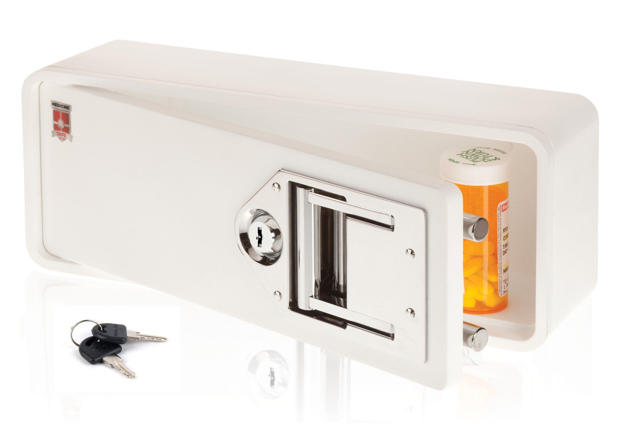 Medicine Safe-Lock box to secure prescription medication-fits inside Medicine Cabinets /Vanity Drawer, White