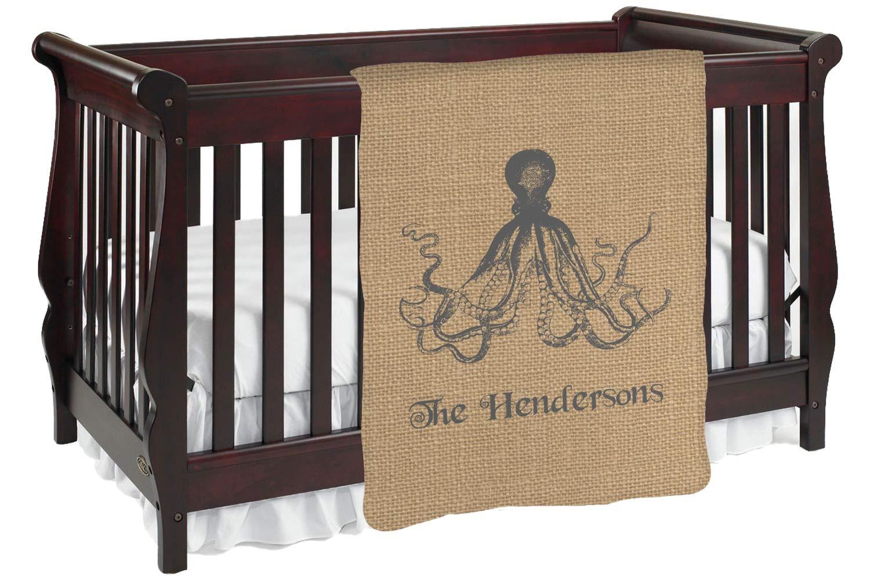 Octopus &黄麻布印刷Baby Blanket (Personalized) Baby Blanket ブラウン mi-baby-blanket-fb+387828 両面  B01KIOPUW0