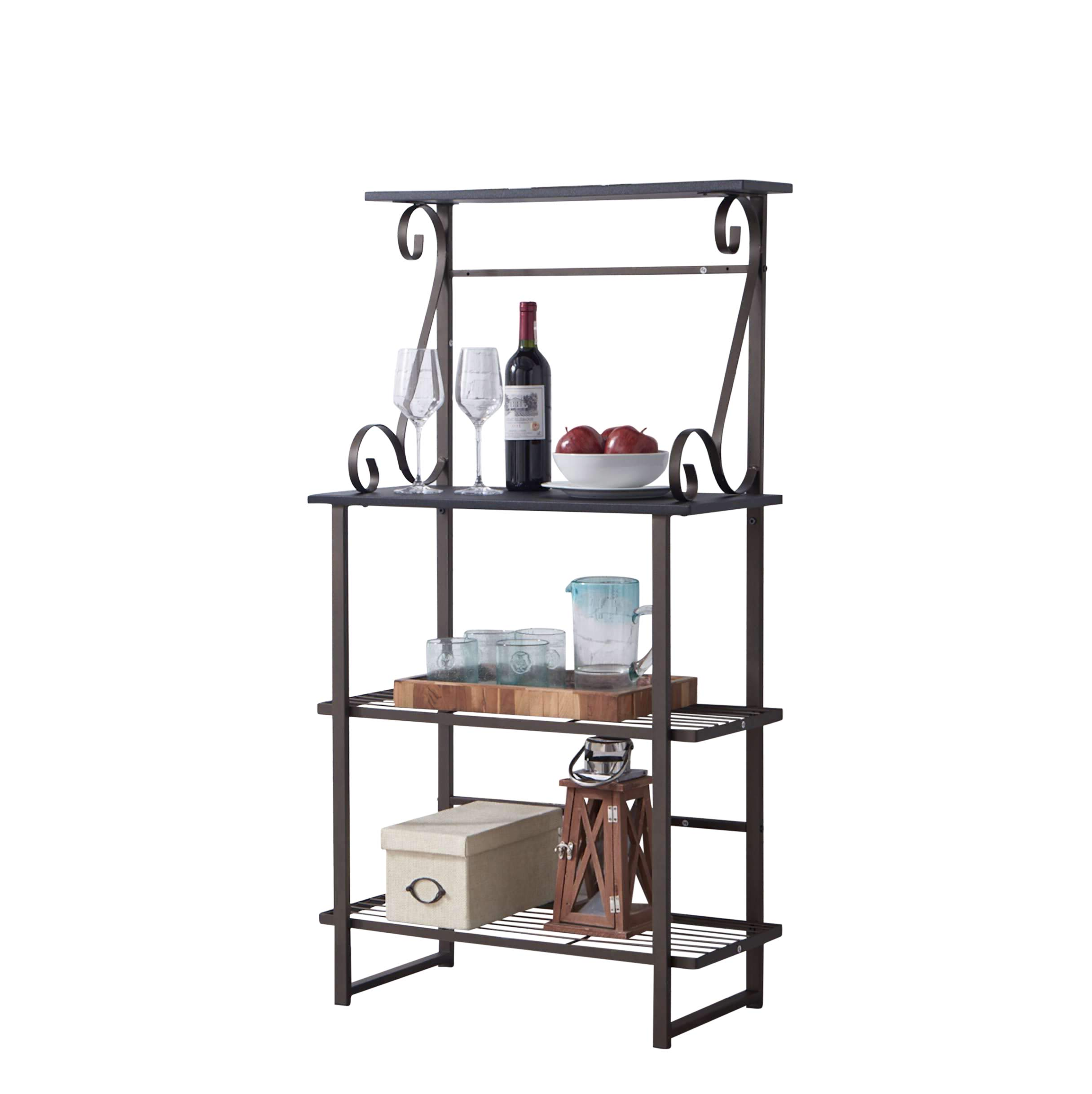 Kings Brand Furniture - Covington Metal Kitchen Baker's Rack, Pewter by Kings Brand Furniture (Image #5)