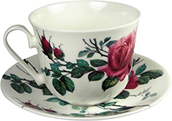 JinGlory Fine Bone China Tea Cup and Saucer Set of 4 Golden Edge Coffee Cup Set for Mocha Latte Cappuccino Flowers royal Limited JinGlory Co