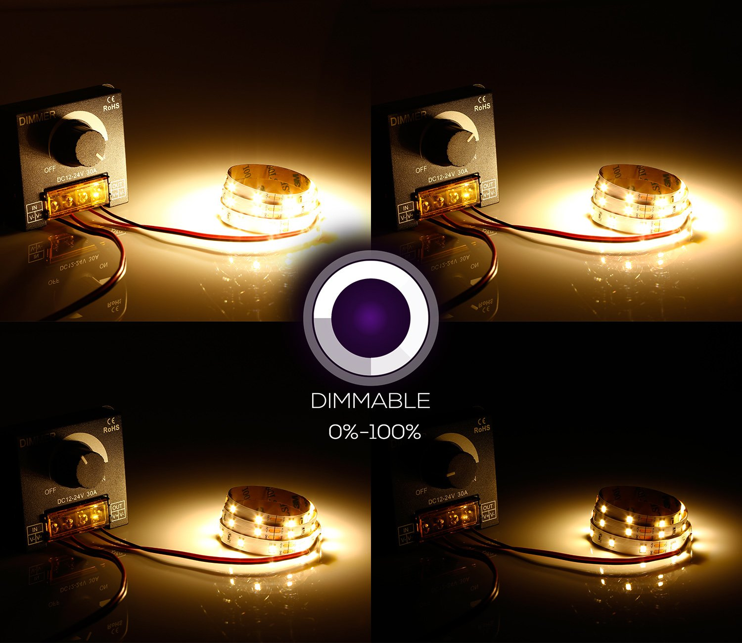 TORCHSTAR PWM Dimming Controller for LED Strip Light, DC 12V - 24V Dimmer Knob ON/OFF Switch with Aluminum Housing, Single Channel 30A 5050 3538 5630 Single Color Light Ribbon by TORCHSTAR (Image #5)
