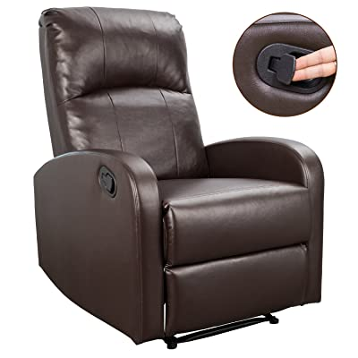 Homall Recliner Chair Padded PU Leather Home Theater Seating Modern Chaise Couch Lounger Sofa Seat (Bright Brown)