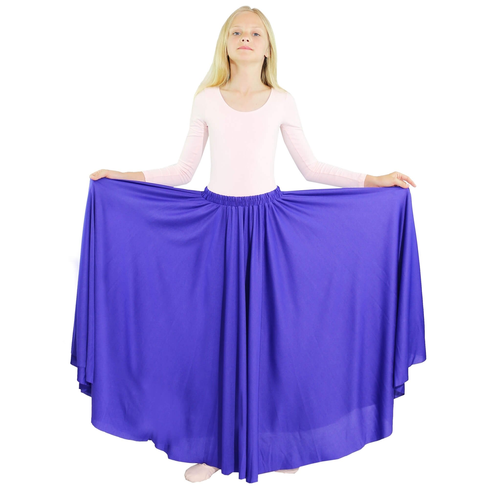 Danzcue Girls Long Full Circle Dance Skirt, Deep Purple, S-M by Danzcue