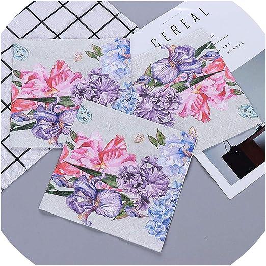 20pcs 33*33cm Pink  Rose Pattern Paper Napkins,100/% Virgin Wood Napkin
