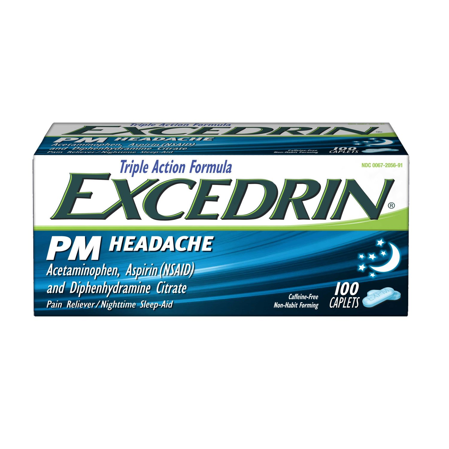 Excedrin PM Caffeine-Free Caplets for Headache Pain Relief and Nighttime Sleep-Aid, 100 count