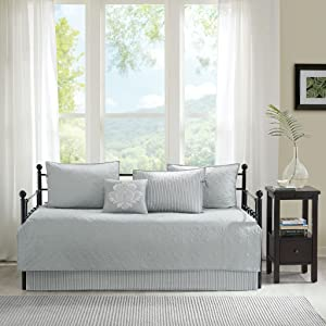 Madison Park Quebec Daybed Size Quilt Bedding Set - Grey, Damask – 6 Piece Bedding Quilt Coverlets – Ultra Soft Microfiber Bed Quilts Quilted Coverlet