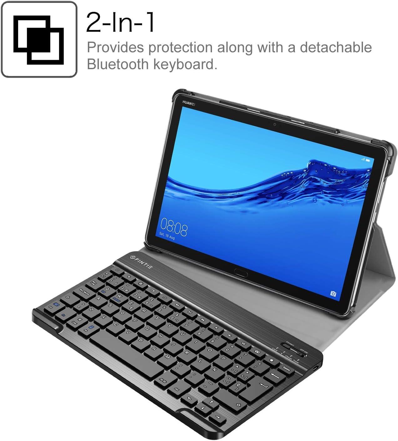 Fintie Funda con Teclado Español Ñ para Huawei MediaPad M5 Lite 10 - Carcasa SlimShell con Soporte y Teclado Bluetooth Inalámbrico Magnético ...