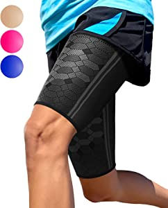 Sparthos Thigh Compression Sleeves (Pair) – Quad and Hamstring Support – Upper Leg Sleeves for Men and Women – Made from Innovative Breathable Elastic Blend – Anti Slip