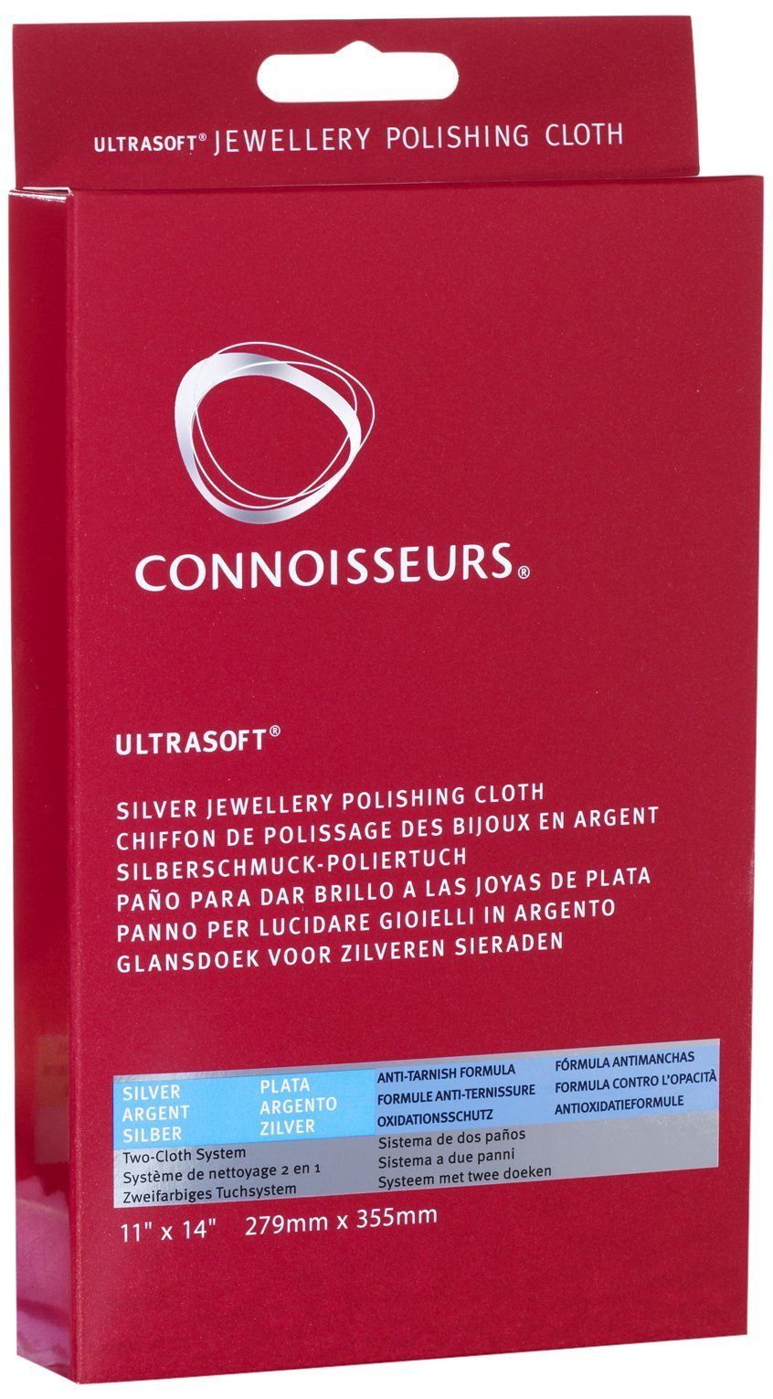 Connoisseurs Silver Jewellery Cleaning Cloth - Ultrasoft Polishing Cloths to Clean, Buff & Restore Shine - 100% Cotton Fiber - 28 x 35cm