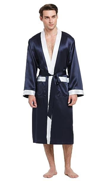 Lilysilk LILYILK Bata Hombre 100% Seda Natural de 22 Momme Colores Contrastes, Azul Marino XXXXL: Amazon.es: Ropa y accesorios