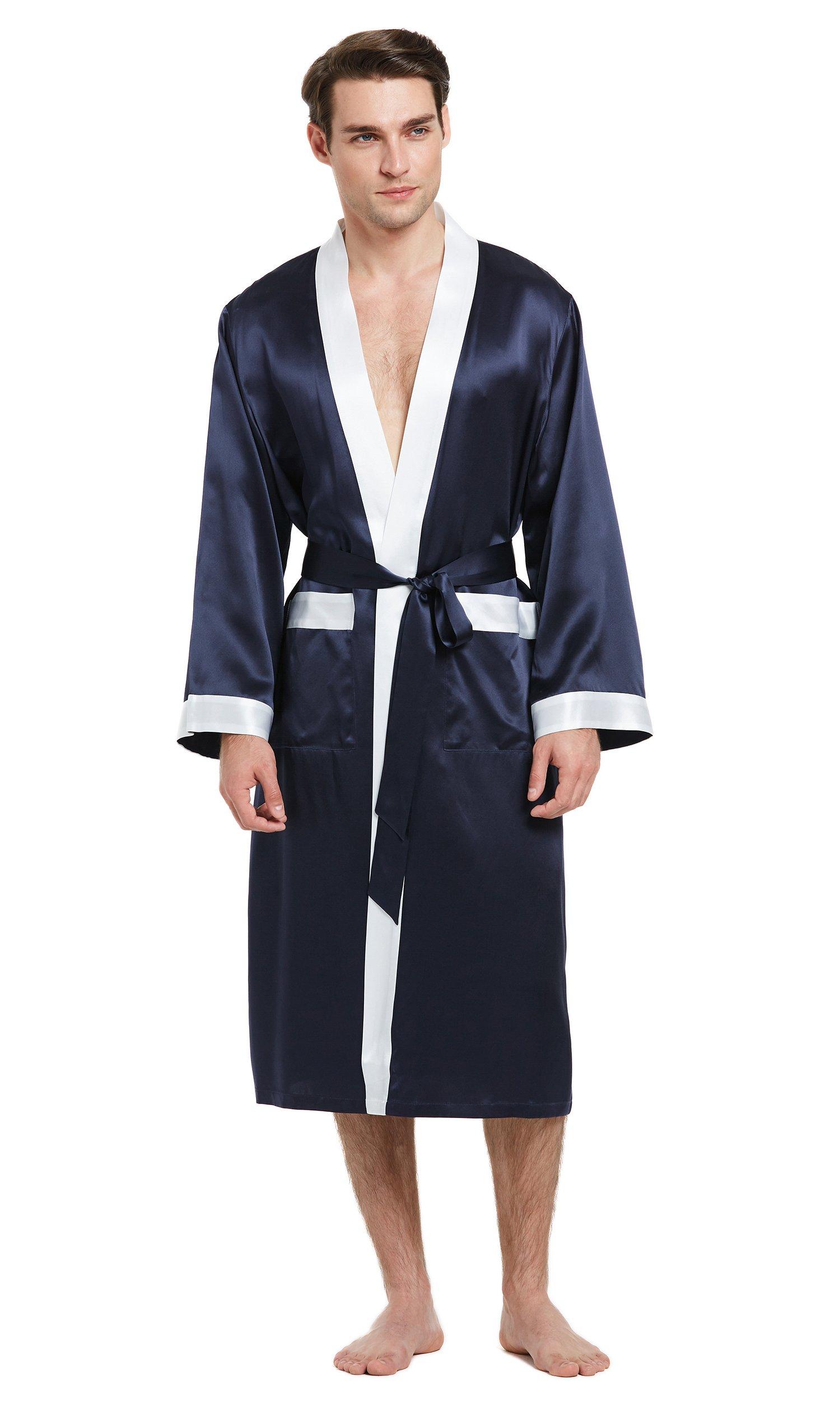 LilySilk Mens Silk Robes 100 Pure Mulberry Long Japanese Kimono Style Sleepwear Luxury Contrast Color Loungewear Navy Blue XL/42