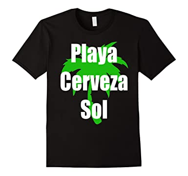 Mens Playa Cerveza Sol T-Shirt Camiseta Beach Bear Sun in Spanish 2XL Black