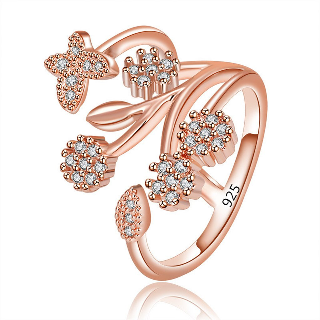 Orris Women Rose Gold Flower Butterfly Crystal Mounted Adjustable Wrap Open Ring by Orris Studios