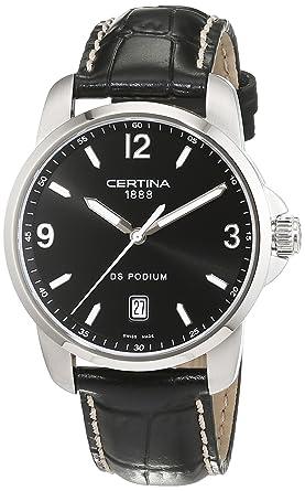 Certina DS Podium C001.410.16.057.01 - Reloj analógico de Cuarzo para Hombre, Correa de Cuero Color Negro: Amazon.es: Relojes