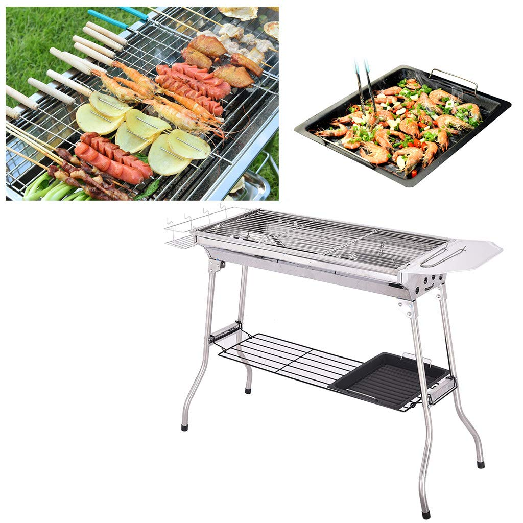 Stainless Steel BBQ Charcoal Grill, Camp Stove, Picnic BBQ Cooker, Potable Folding Stainless Steel Backpacking Stove for Outdoor Indoor Garden Backyard Cooking Camping Hiking Beach Picnic Tailgating