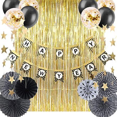 Pompoms Blumen deko Neues Jahr Partei 2020 Anzahl und Happy New Year Foil Ballons Spiral Girlanden,Luftballon,Foil Swirls QILICZ Silvester deko 2020 Neujahr deko 2020 Silvester Dekoration Set