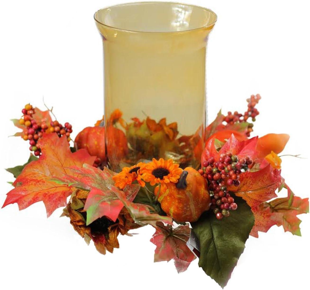 Autumn Plastic Floral Candle Wreath Orange Yellow Red Brown PIllar Candle Wreath Harvest Thanksgiving Decor Floral Plastic Centerpiece