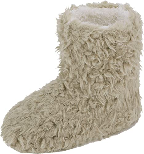 Pantofole a stivaletto in pile Donna (38 39) (Bianco