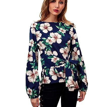❤️Camisas Mujer,Modaworld Moda Blusa con Estampado de Gasa de Manga Larga Volantes Casual
