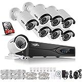 Sannce Kit de 4 Cámaras de Vigilancia Seguridad, 1280 x 960P, CCTV DVR P2P