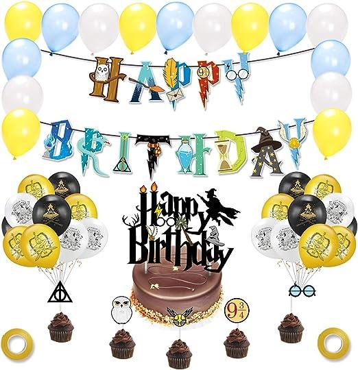 Todo para el streamer: JINGYOU Suministros Para La Fiesta De Harry Potter Inspired Cupcake Toppers,Wizard Inspired Cupcake Toppers,Mago Cumpleaños Fiesta Decoracion,Halloween Fiestas Suministros,Cumpleaños Banner Decoracion