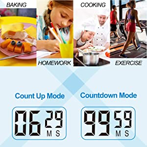Betus 2 Pack Digital Kitchen Timer - Big Digits, Simple Operation and Loud Alarm - Magnetic Backing or Table Stand - Stopwatch Count Up and Down for C