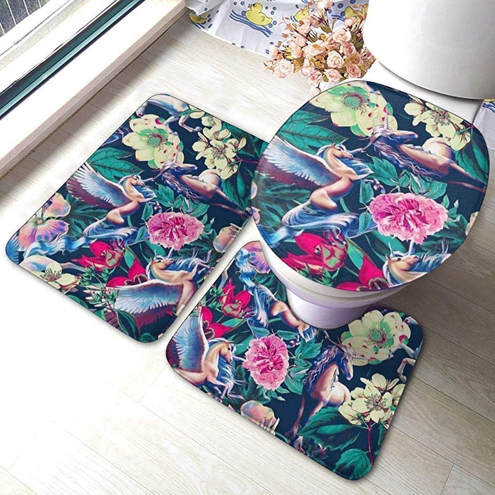 WEURIGEF WEURIGEF Patrón Floral de Caballo Cute 3 Piezas de Espuma de Memoria Alfombras de baño Set Alfombra de baño Contorno Mat Tapa Antideslizante