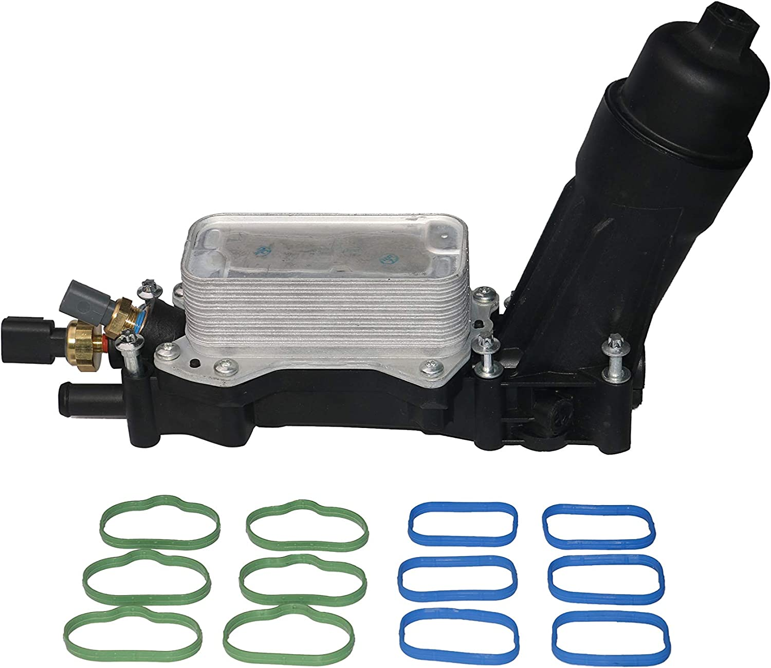 Engine Oil Cooler and Filter Housing Adapter Kit - Replaces 68105583AF, 68105583AE - Fits 3.6L V6 Chrysler 200, Town & Country, Dodge Grand Caravan, Jeep Grand Cherokee, Wrangler, Ram 1500, 2500