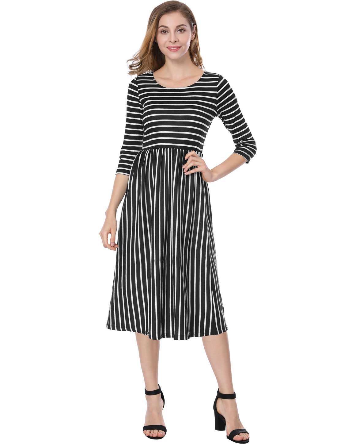 Allegra K Womens Contrast Striped 3//4 Sleeves Paneled Midi Flared Dress s18040800it0496