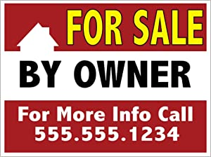 Pack of (2), for Sale by Owner Yard Sign, Add Your Custom Message, FSBO - 18 x 24, Wire H Stake Included