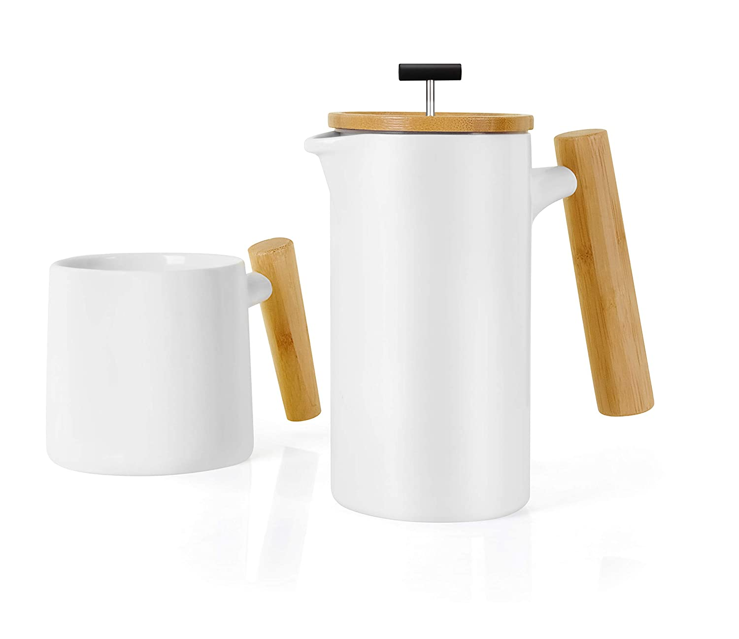 Ceramic French Press Coffee Maker Coffee Press Coffee Plunger 24 oz. Non-Porous Stoneware with Coffee Mug White