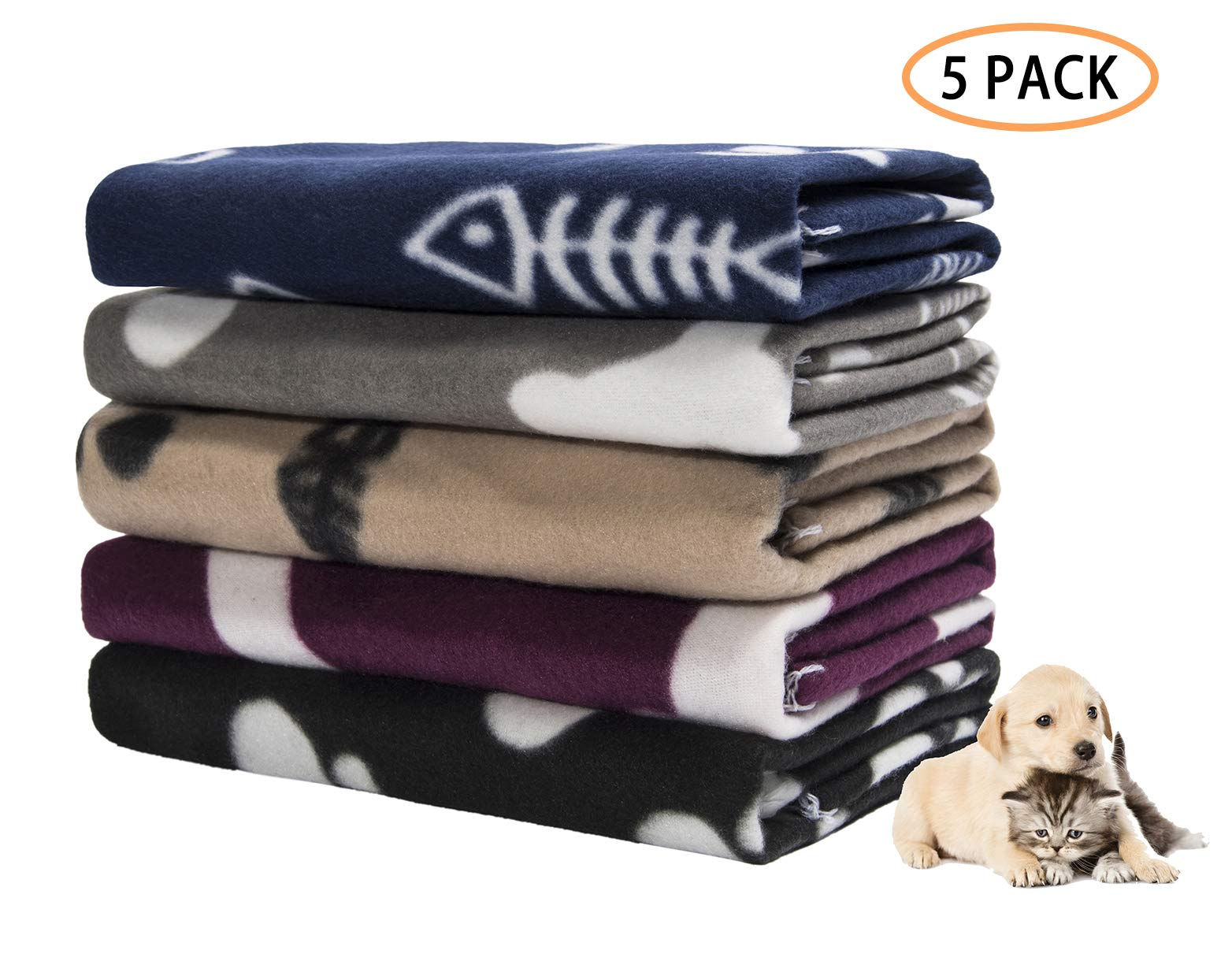 Pet Dog Blanket,Warm Dog Bed Cover Paw Print Fleece Throw Blanket for Small,Medium Dog,Cat,Puppy,Kitten,Other Small Animals,5 Pack Mixed,24''x28''