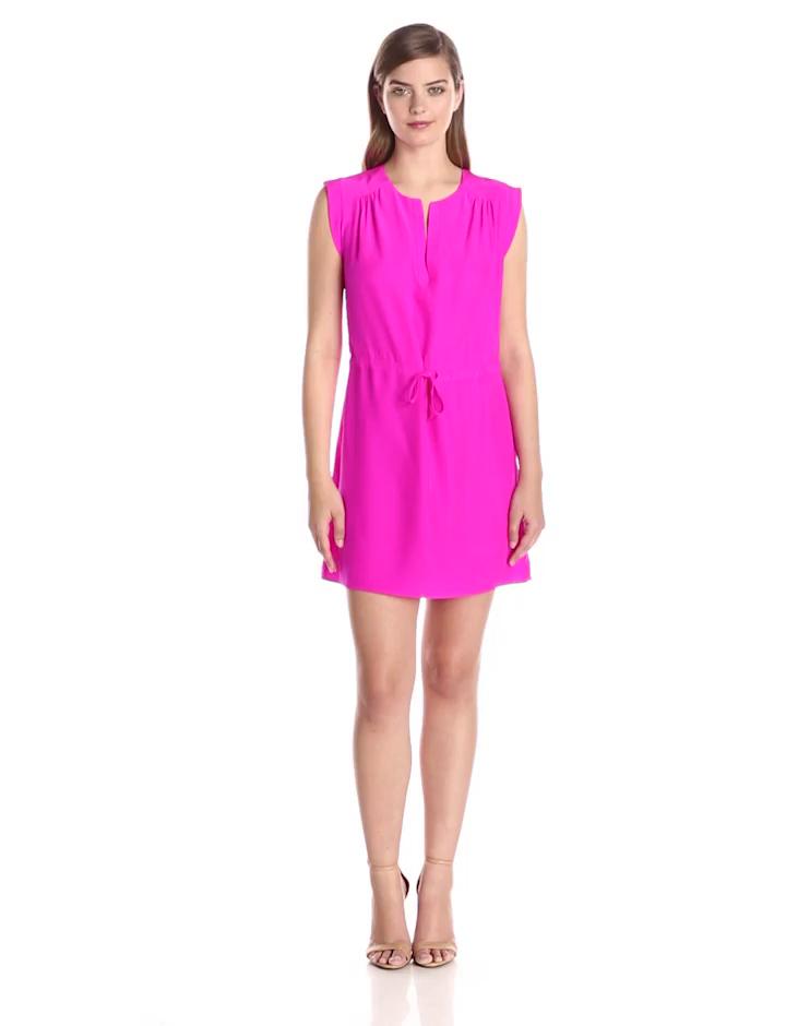 Amanda Uprichard Women's Market Silk Tiewaist Dress, Hot Pink Light, X-Small