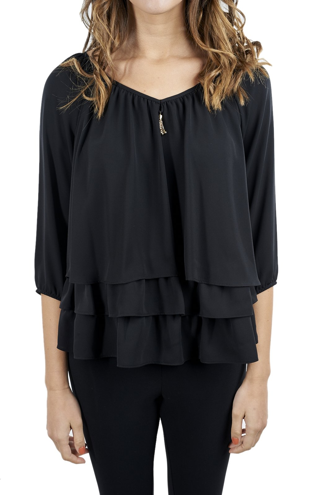 Joseph Ribkoff Black Layered Blouse with Golden Accent Style 171292-12