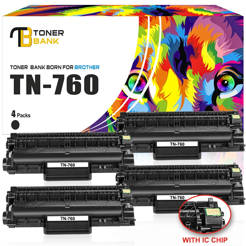 Toner Bank (with CHIP) 4Pack TN760 Compatible Brother HLL2395DW HL-L2350DW TN760 TN-760 TN730 Toner Cartridge Brother HL-L2370DW HL-L2370DWXL HL-L2390DW DCPL2550DW MFCL2710DW MFCL2750DW MFCL2750DWXL