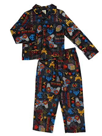 Faded Glory Boys Black Flannel Pajamas Video Game Themed Sleepwear Set 4-5