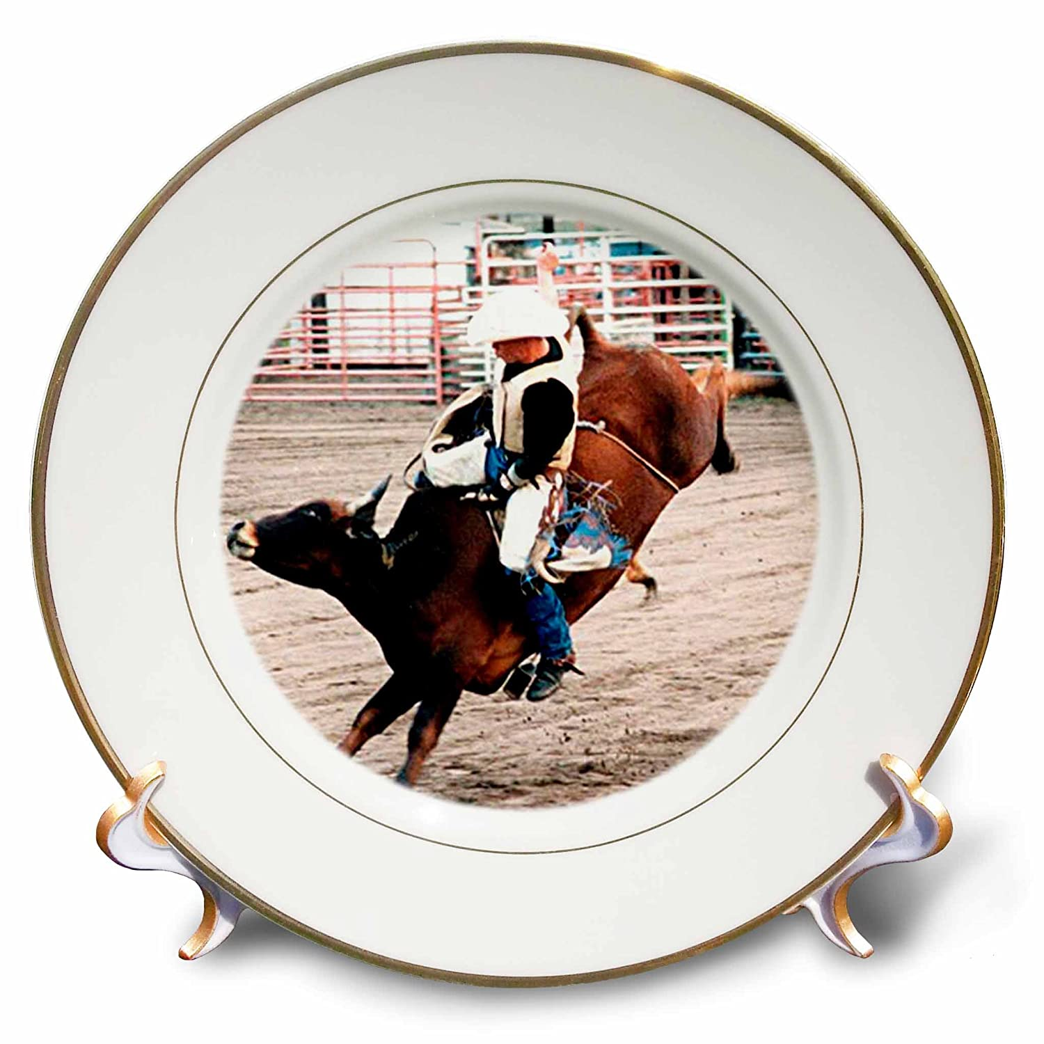 8-Inch 3dRose cp/_727/_1 Hang on Cowboy Porcelain Plate