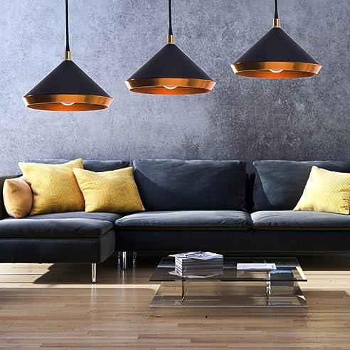 Ludina - Moderne Hängeleuchte in gold schwarz   Eine Deckenlampe ...