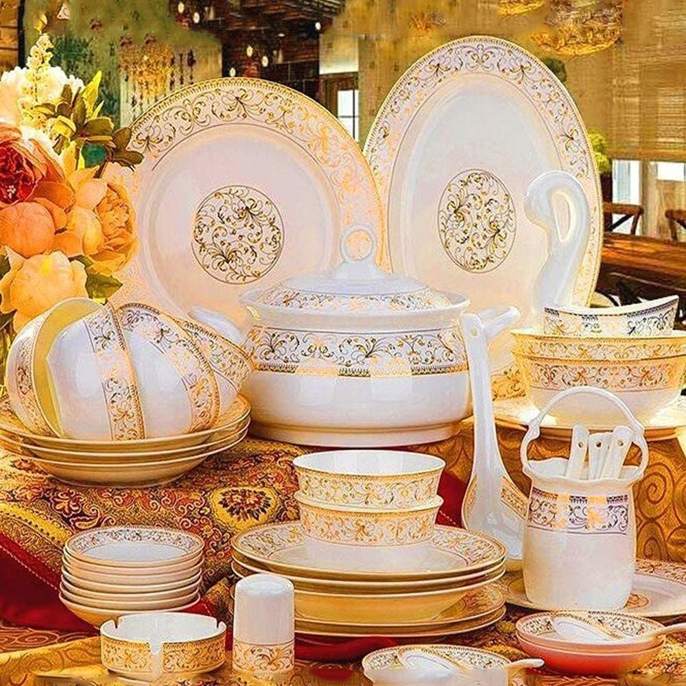 YLee 56pcs Bone China Tableware, Chinese Family Dinner Service for Multiple People, can be Used in Microwave ovens and dishwashers