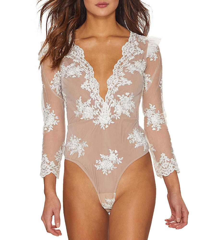 For Love & Lemons Amber Embroidered Bodysuit, XS, Blanc by For Love & Lemons (Image #1)