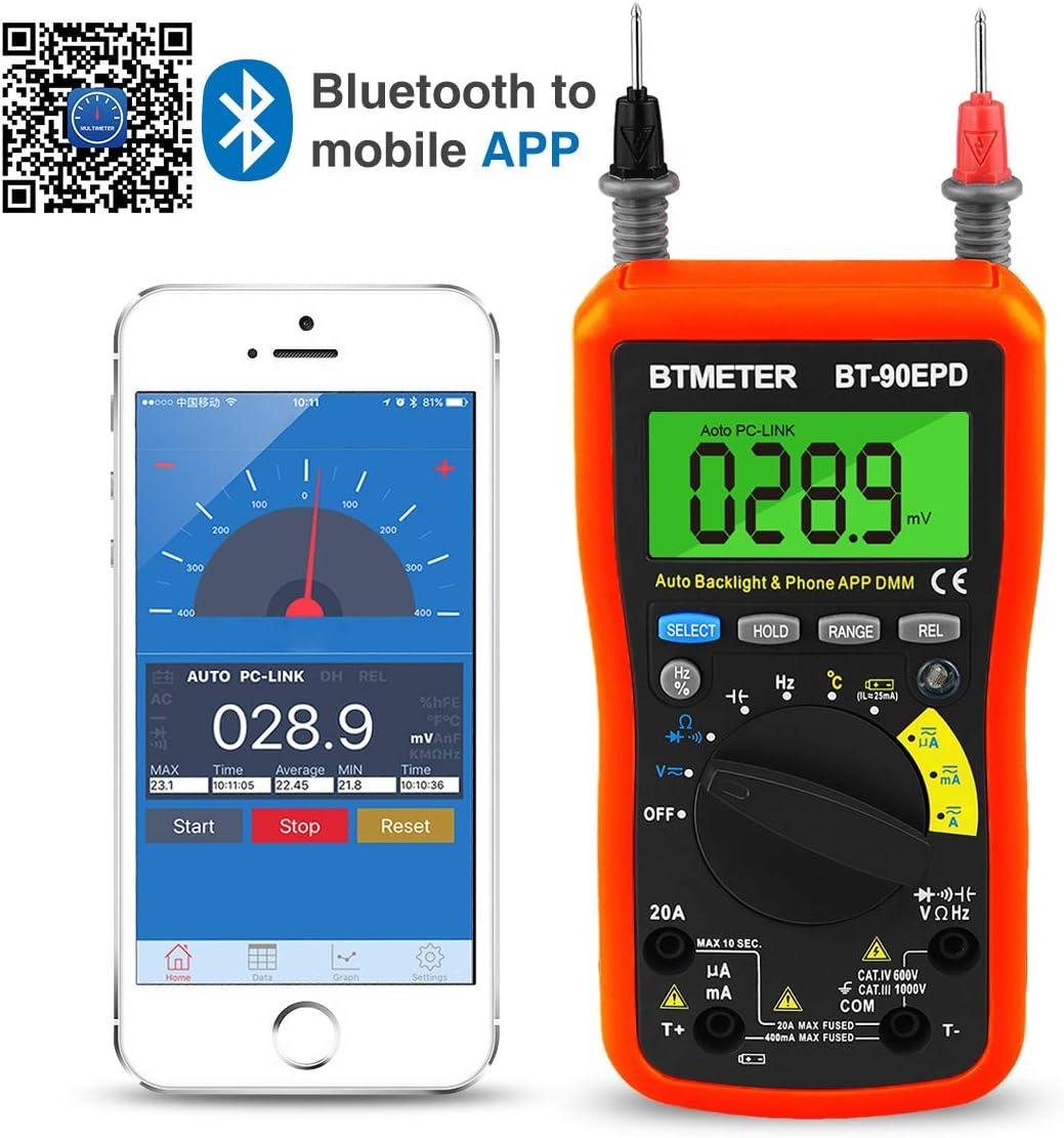 Bluetooth APP Digital Multimeter – BTMETER BT-90EPD Auto Ranging Multi-tester 4000 Counts Data Logging on Mobile Phone for AC DC Voltage Current Resistance Temperature