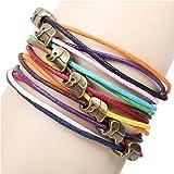 Homgaty Fashion Lady Retro Elephants Mutil Color Knit Rope Bracelet