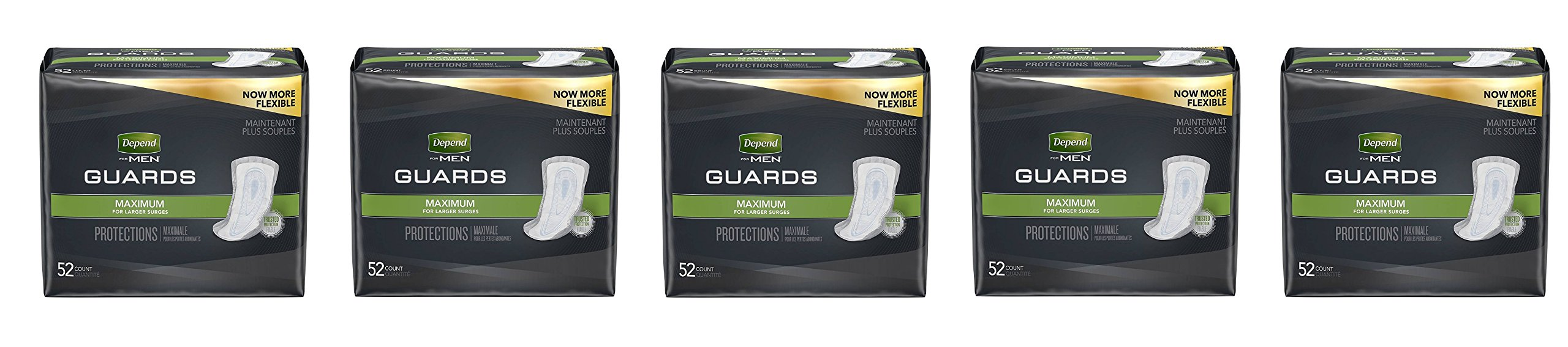 Depend Incontinence Guards GCtlgd for Men, Maximum Absorbency, (Packaging May Vary), 52 Count (Pack of 5)