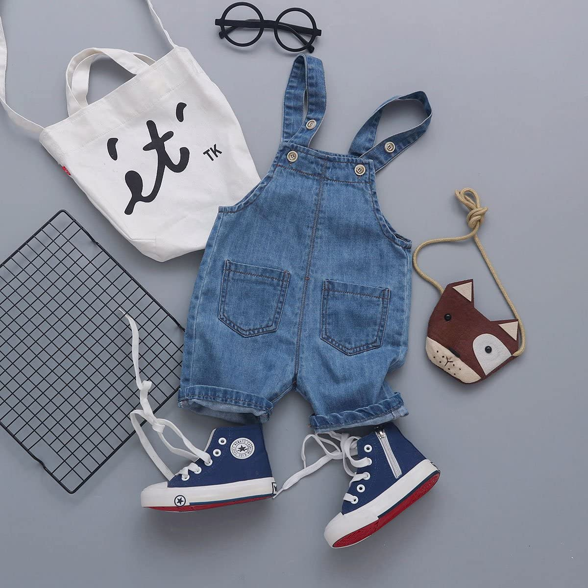 FEOYA Kids Bib Overall Shorts Jeans Suspenders Pants Denim Dungarees Shortalls