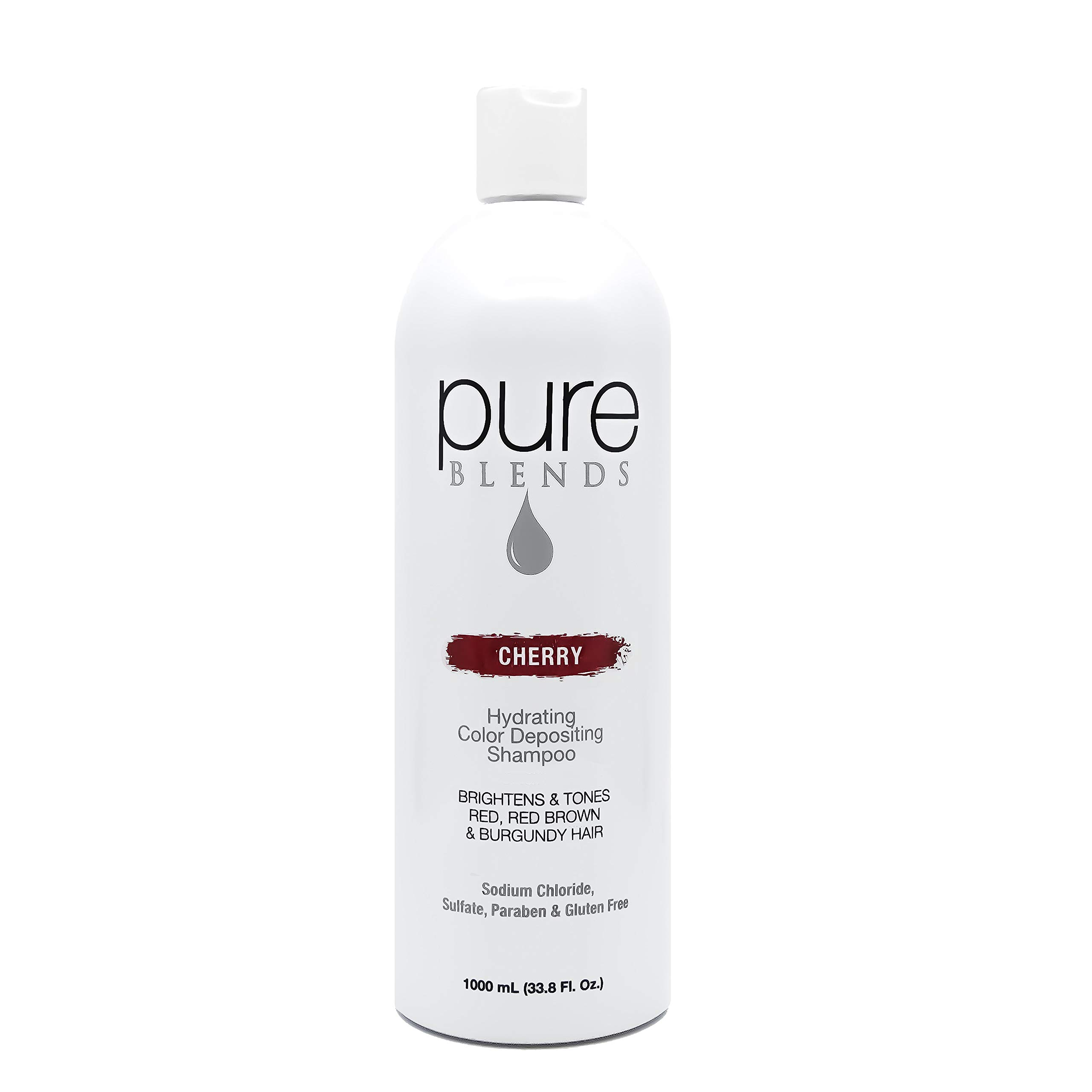 Pure Blends Hydrating Color Depositing Shampoo - Cherry (Red, Red Brown and Burgundy Hair) 33.8 Ounce - Salon Quality by Pure Blends