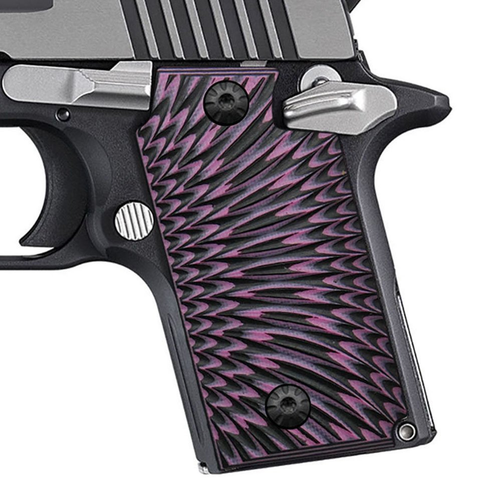 Cool Hand G10 Grips for Sig Sauer P238, Pink/Black G10, Without Ambi Safety Cut, Sunburst Texture, Brand, H3N-J6-25 by Cool Hand