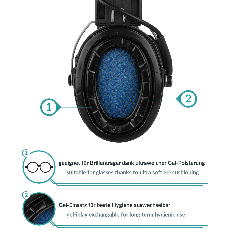 Protector auditivo Activo con l/ámpara LED Sordin Supreme Pro X SOR75302-X-07 Kit de Gel Copas Verdes Cinta de Camuflaje